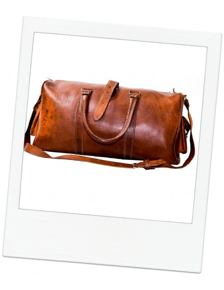 Leather Travel Bag Camel