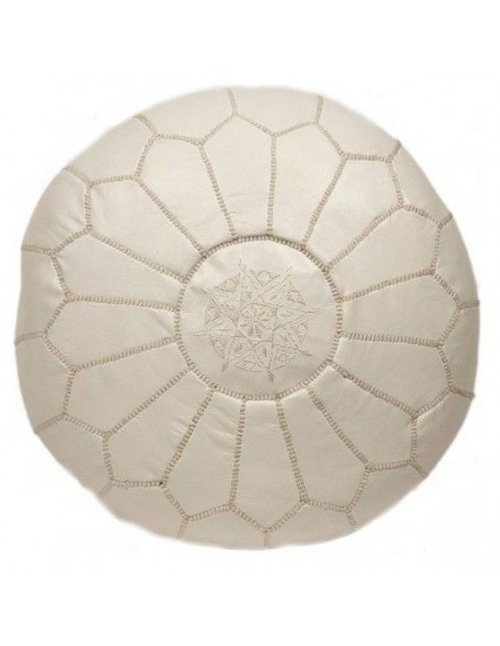 Pouf marocain cuir beige