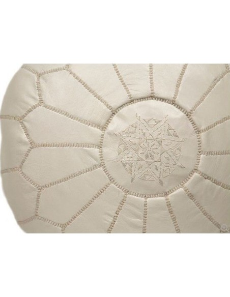 Moroccan pouffe leather beige