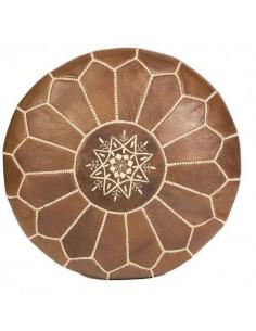 Pouf marocain cuir marron