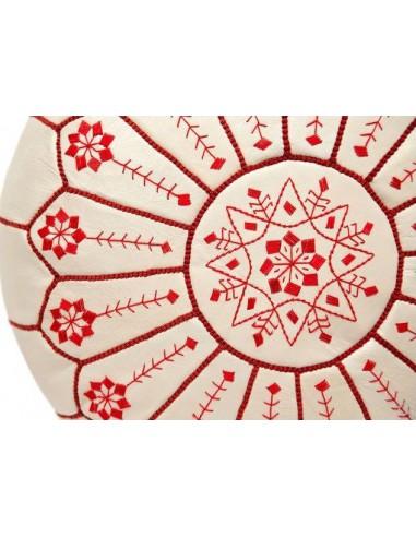 Pouf marocain cuir blanc brodé en rouge