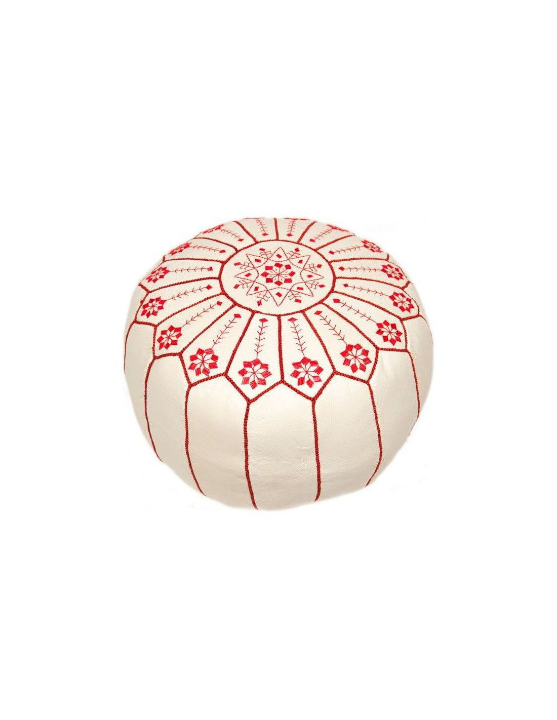Pouf marocain cuir blanc brod en rouge - Pouf cuir blanc ...