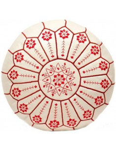 Pouffe moroccan white leather embroidered in red