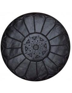 Pouf marocain cuir noir