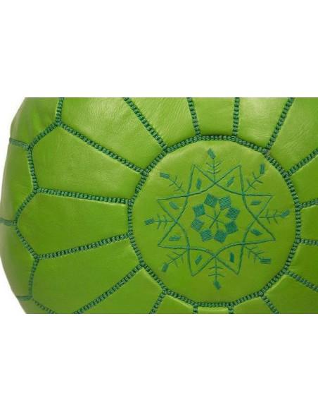 Pouf marocain cuir vert