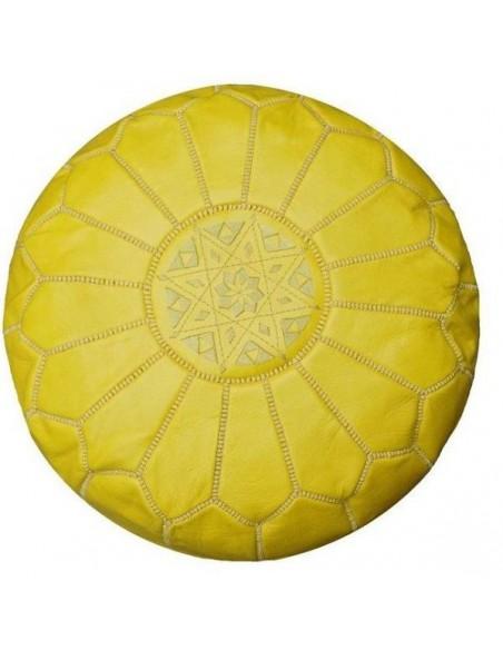 Pouf marocain cuir jaune